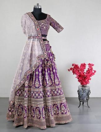 Georgette wedding wear purple lehenga choli