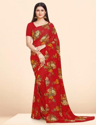 Georgette wonderful red printed saree