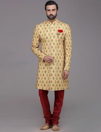 Georgette yellow haldi function indo western