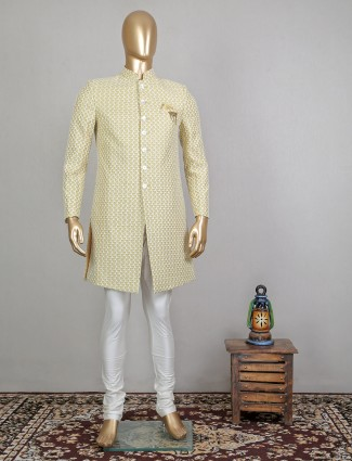 Georgette yellow indo western for men