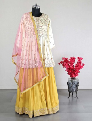 Georgette yellow lehenga choli for wedding