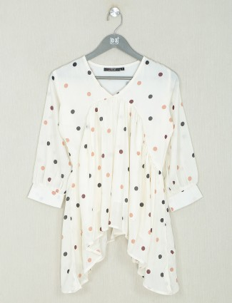 Georgetteoff-white casual wear top for wonderful lady