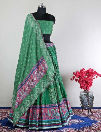 Green semi-stictched silk lehenga choli for wedding