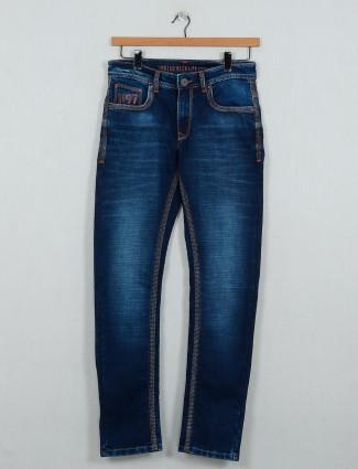 Gesture washed blue denim slim fit jeans