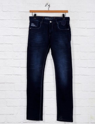 Gesture washed navy slim fit jeans