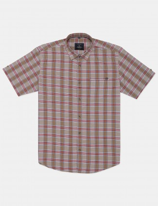 Gianti beige checks patern cotton shirt