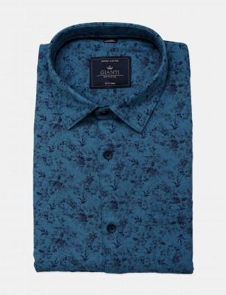 Gianti blue color printed slim fit shirt