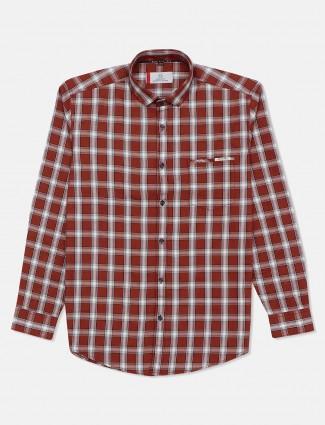 Gianti brown cotton shirt with checks