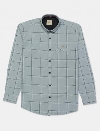 Gianti checks grey slim fit mens shirt