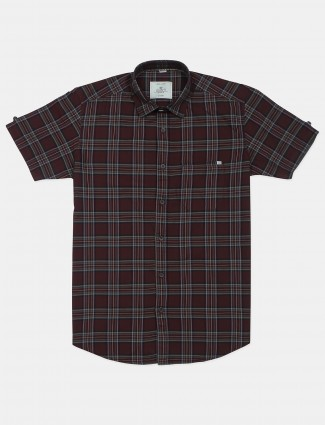 Gianti checks maroon shirt in cotton fabric