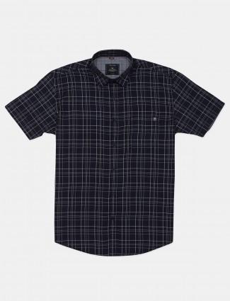Gianti checks navy cotton shirt for mens