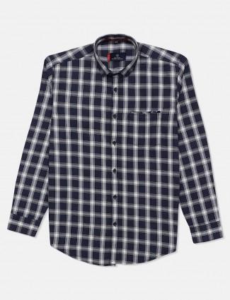 Gianti checks pattern navy shirt in cotton