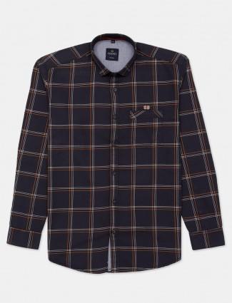 Gianti dark grey checks casual printed shirt