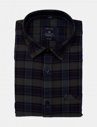Gianti green checks cotton fabric shirt