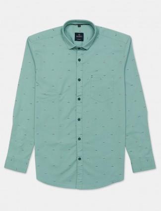Gianti mint green printed casual shirt