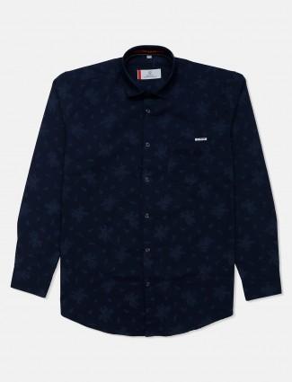 Gianti navy casual printed shirt