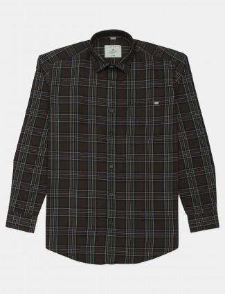 Gianti olive green checks shirt in cotton