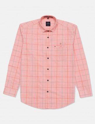 Gianti peach checks casual printed shirt