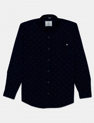 Gianti printed navy cotton shirt for men