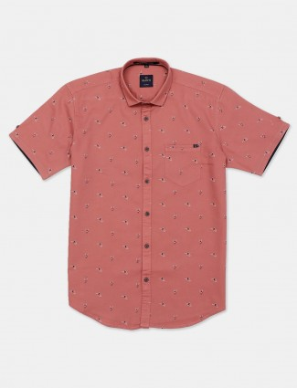 Gianti printed peach slim fit shirt