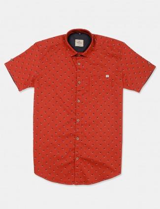 Gianti printed rust orange slim collar shirt