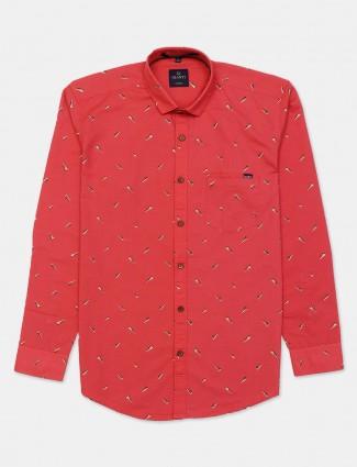 Gianti red printed casual shirt