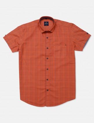 Gianti rust orange checks cotton shirt for mens
