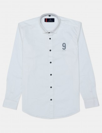Gianti solid white casual shirt
