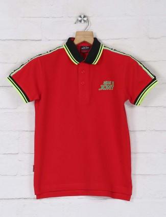 Gini & jony cotton poppy red polo t-shirt
