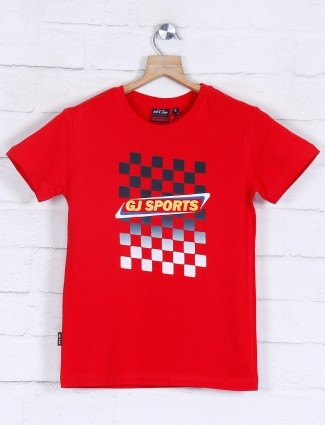 Gini and Jony red printed casual boys t-shirt