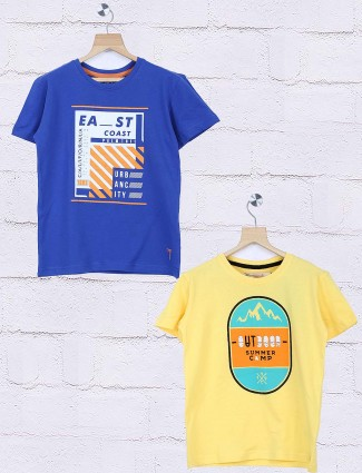 Gini and Jony royal blue and yellow printed pack of 2 t-shirt