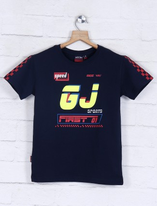Gini and Jony strong navy printed t-shirt