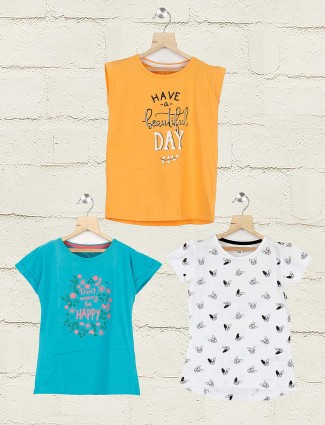 Gini and Jony white aqua and orange cotton fabric pack of 3 top