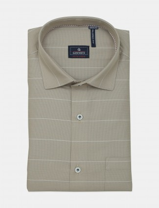 Ginneti beige stripe cotton shirt for men