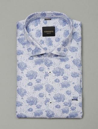 Ginneti blue cotton printed formal shirt