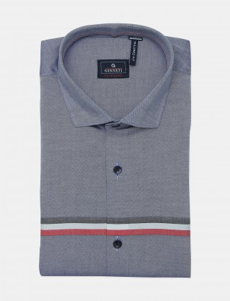 Ginneti blue printed formal wear shirt for men