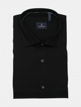 Ginneti formal wear black solid shirt
