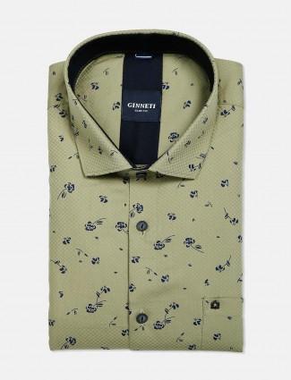 Ginneti formal wear pista green printed shirt