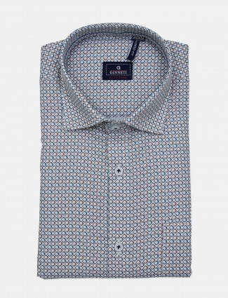 Ginneti full buttoned placket off white printed shirt