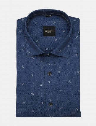 Ginneti full buttoned placket printed blue shirt