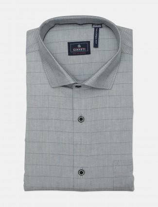 Ginneti full buttoned placket stripe grey shirt