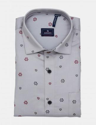 Ginneti grey printed cotton casual shirt