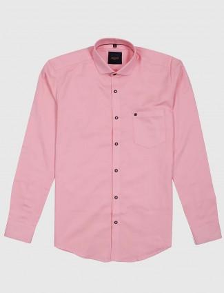 Ginneti light pink cotton solid shirt