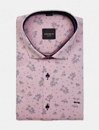 Ginneti pink cotton printed mens shirt
