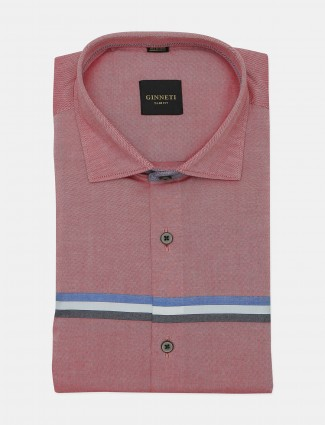 Ginneti pink printed cotton casual shirt