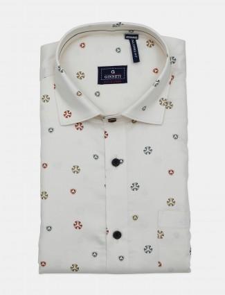 Ginneti presented cream printed shirt