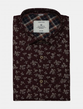 Ginneti printed formal maroon cotton shirt