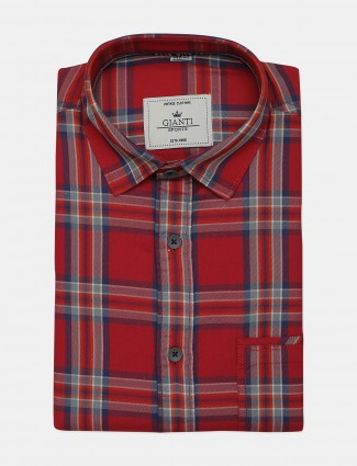 Ginneti red cotton checks shirt