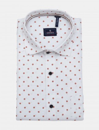 Ginneti slim fit printed white shirt