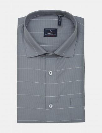 Ginneti slim fit stripe grey cotton shirt